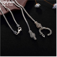 Uglyless S 925 Sterling Silver Necklaces without Pendants Unisex Snake Chains Vintage Thai Silver Fine Jewelry Marcasite Collier