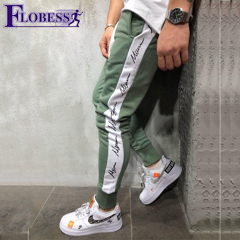 Men Letter Print Jogger Sports Pants New 2018 Male Leisure Fitness Running Skinny Long Trousers Mens Striped Pencil Pants drawstring spliced camo jogger pants