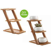 T4U succulent planter bamboo Plant Stand Shelf Holds 3 Flower Pot air Planters Holder Planters Stand with maceta bonsai pots(China)