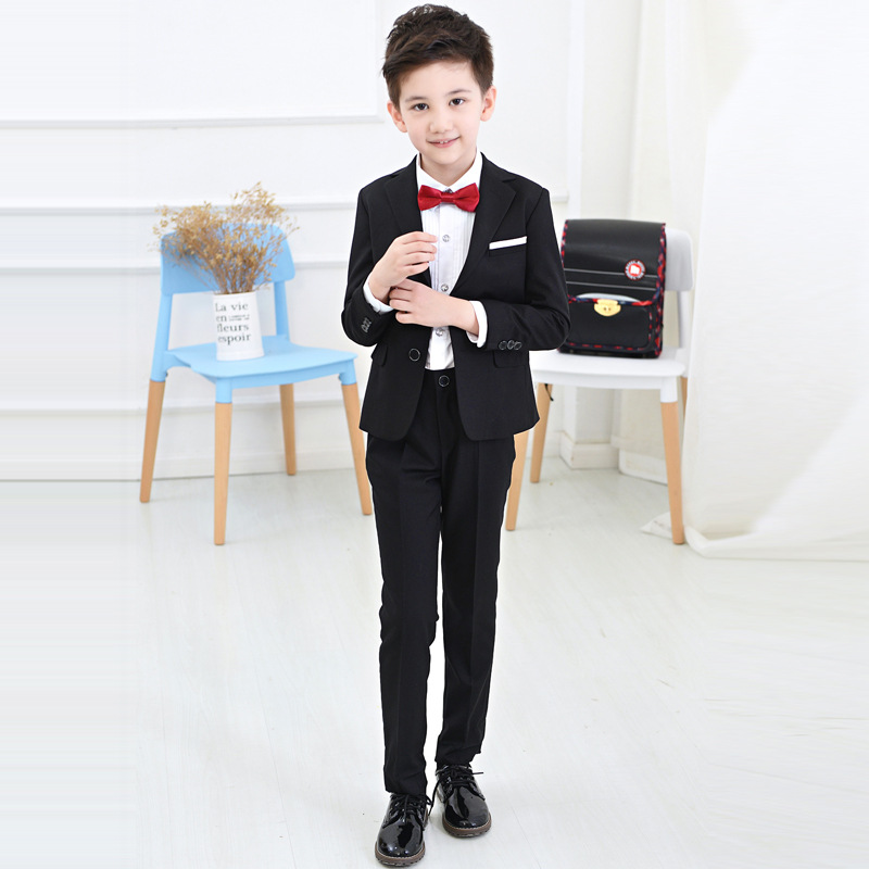 Boys suits for weddings Kids Prom Suits Black Wedding Suits for Boys Big Children Clothing Set Boy Formal Classic Costume baby boy clothes suits vest plaid shirt pants 3pcs set party formal gentleman wedding long sleeve kid clothing set free shipping