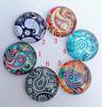 30pcs/lot mandala Bandanna Glass Cabochon Yoga Cabochons round 20mm Flatback for Necklace bracelet Earrings DIY Jewellery