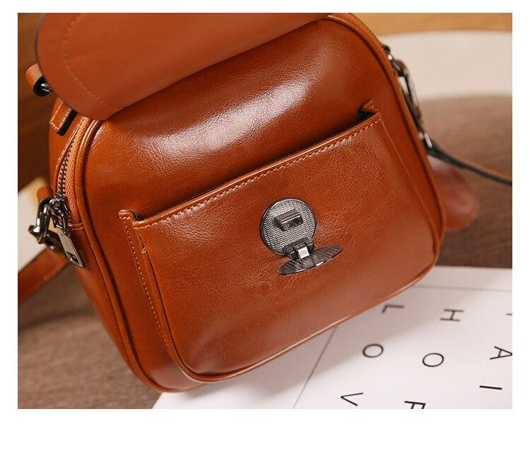 Nuleez äkta läder kvinnor flap väska cirkel metall dekoration mode - Handväskor - Foto 6