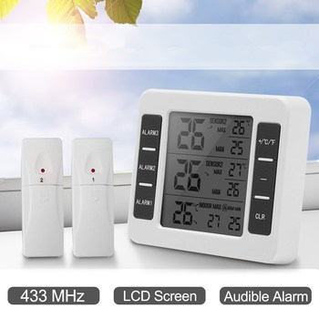 Digital Electronic Wireless IndoorOutdoor Thermometer with 2 Sensors Alarm Clock Weather Station 3Kinds of Temperature Monitor digital clock