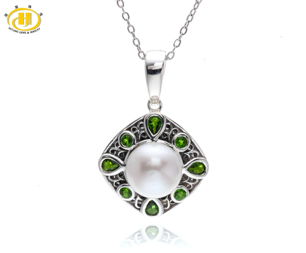 Hutang Freshwater Pearl and Chrome Diopside Gemstone 925 Sterling Silver Vintage Pendant Necklace 18 inches цена и фото