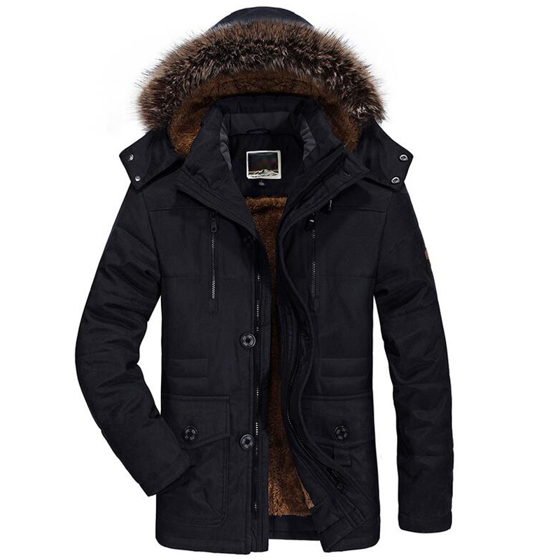 Image 4 - Mens New Fashion Winter Jacket Men Thick Casual Outwear Jackets Men's Fur Collar Windproof Parkas Plus Size 6XL Velvet Warm Coat-in Parkas from Men's Clothing