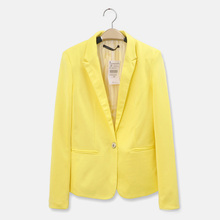 Women Foldable Long Sleeves Lapel Coat Lined With Striped Single Button