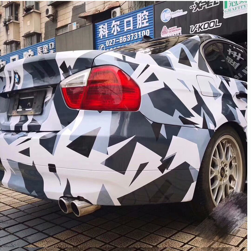 Pixel White Blue Black Camouflage Vinyl Car Wrap Film Vehicle Covering With Air Bubble Free DIY