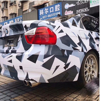 Pixel White Blue Black Camouflage Vinyl Car Wrap Film Vehicle Covering With Air Bubble Free DIY Styling Boat Car Wrapping