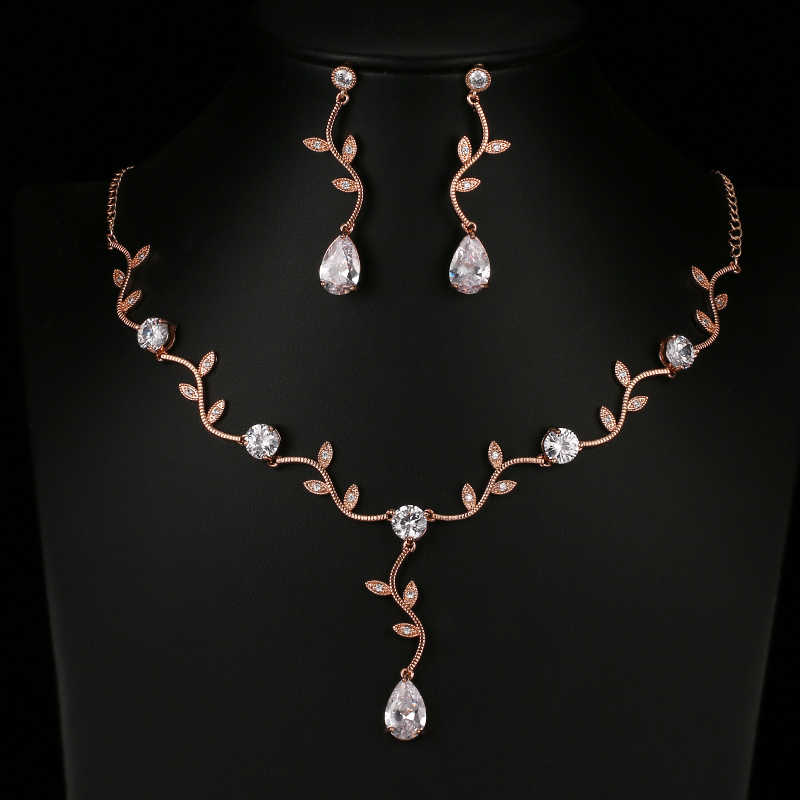 Fashion Water Drop Zircon Crystal Bridal Jewelry Sets Luxury Gold Color African Beads Jewelry Set For Women Jewellery AS136