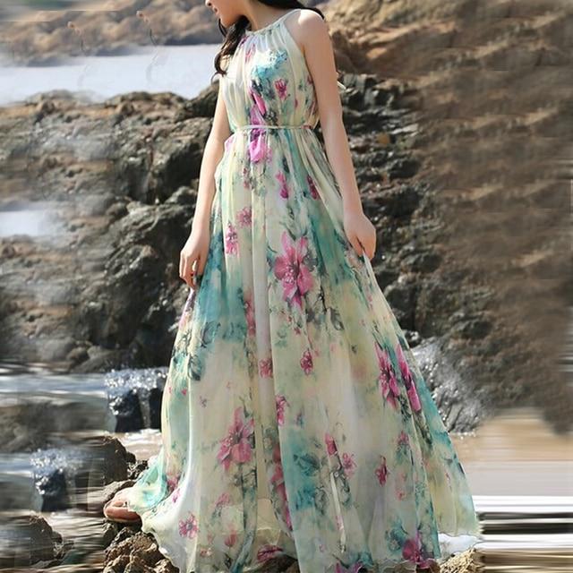Summer Floral Long Chiffon Maxi Dress Gown Plus Sizes celebrity/graduation/Dinner Dress Beach Bridesmaid Sundress 4