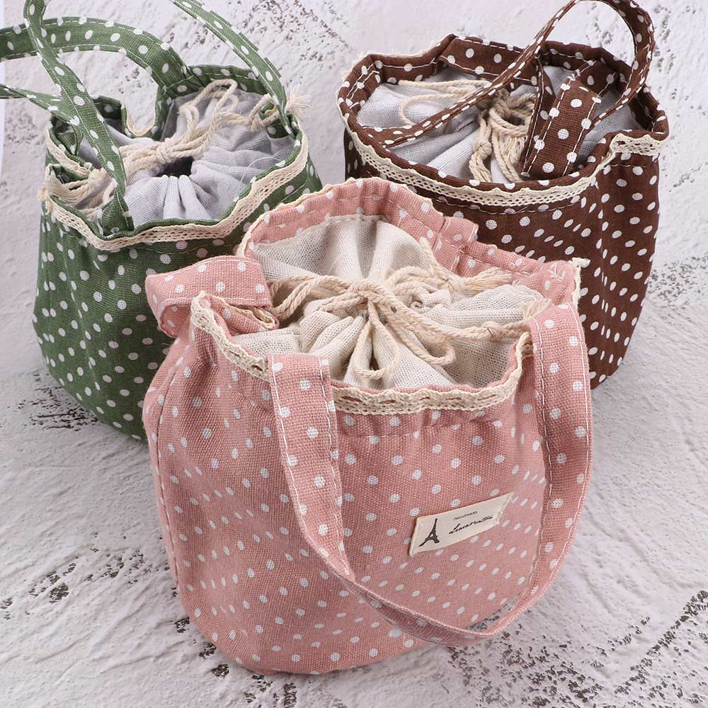 1PC Casual Portable Lunch Bag Dots Insulated Canvas Thermal Food Picnic Lunch Bags For Women Kids Cooler Lunch Box Bag Tote