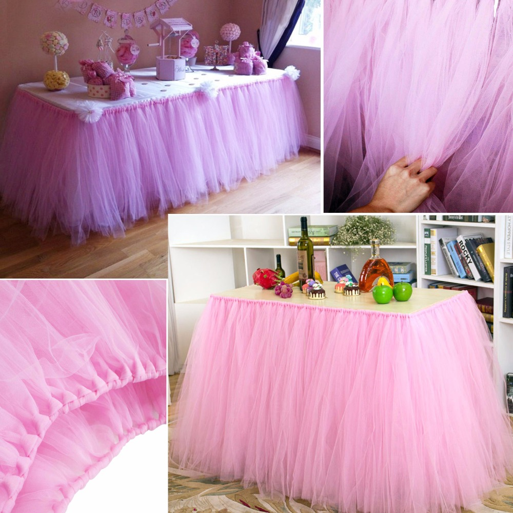 1pcs Tulle Table Skirt DIY Tutu Tableware Skirts For Wedding Decor Birthday Decoration Baby Shower Favors Party Home Textile New In From