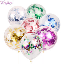 FENGRISE 5pc 30cm Clear Colorful Confetti Balloon Gold Silver Wedding Decoration Birthday Party Supplies Decorating Accessories