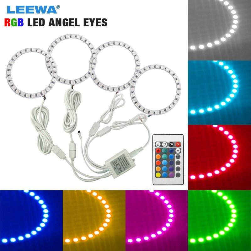 LEEWA 4X80mm Car RGB LED Angel Eyes Halo Ring Light
