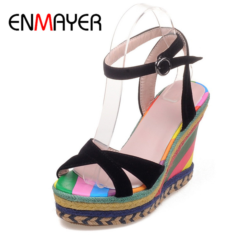 ФОТО ENMAYER Summer Open Toe Ankle Strap Summer Sandals High Heels Pumps Shoes Woman Wedges Zapatos Mujer Plus Size 34-43 Womens