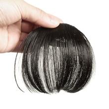 Gres Натуральные Прямые волосы на заколках для наращивания Женские синтетические волосы челка высокотемпературное волокно темно-коричневые/Черные накладные волосы