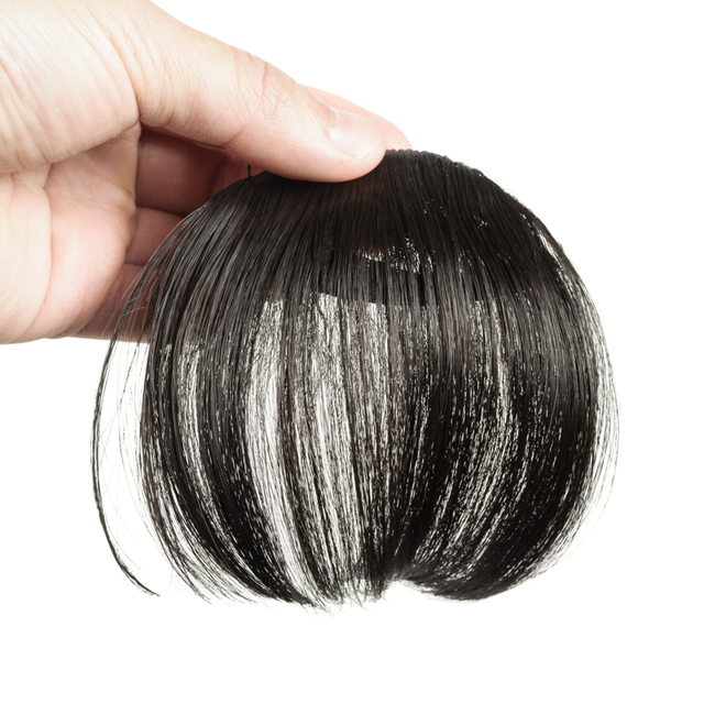 Gres Natural Straight Clip in Hair Extensions Women Synthetic Hair Bangs High Temperature Fiber Dark Brown/Black False Hair