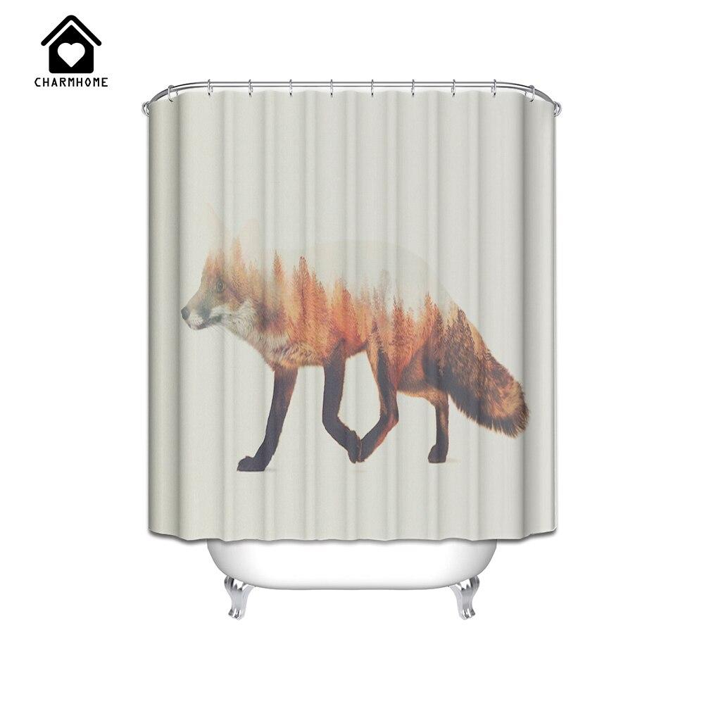 Winter shower curtain - Charmhome Custom High Quality Fox Couple Snow Winter Care Waterproof 150x180cm Fabric Bathroom Shower Curtain