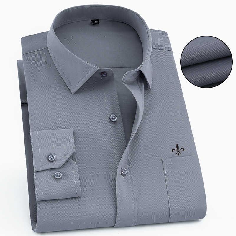 2020 Pria Kemeja Lengan Panjang Camisa Sosial Masculina Klasik Pria Kemeja Formal Kemeja Bisnis Pria Bordir LOGO