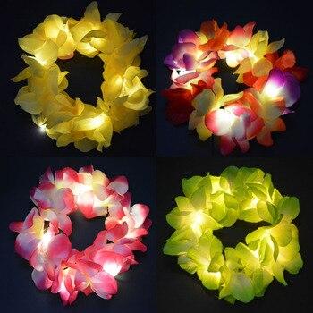 Light Up Flashing Hawaiian Flower Lei Headband Hula Garland Wreath Headband Head Wear Women Girls