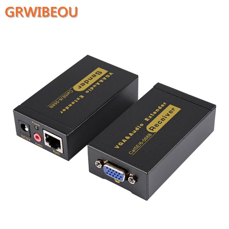 VGA Видео Аудио кабель передатчик 100 метров витая пара кабель удлинитель VGA к RJ45 CAT5E/6 1080 P HD 3D адаптер усилителя