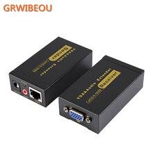 VGA Видео Аудио кабель передатчика 100 м Кабель витая пара удлинитель VGA к RJ45 CAT5E/6 1080 P HD 3D усилитель адаптер