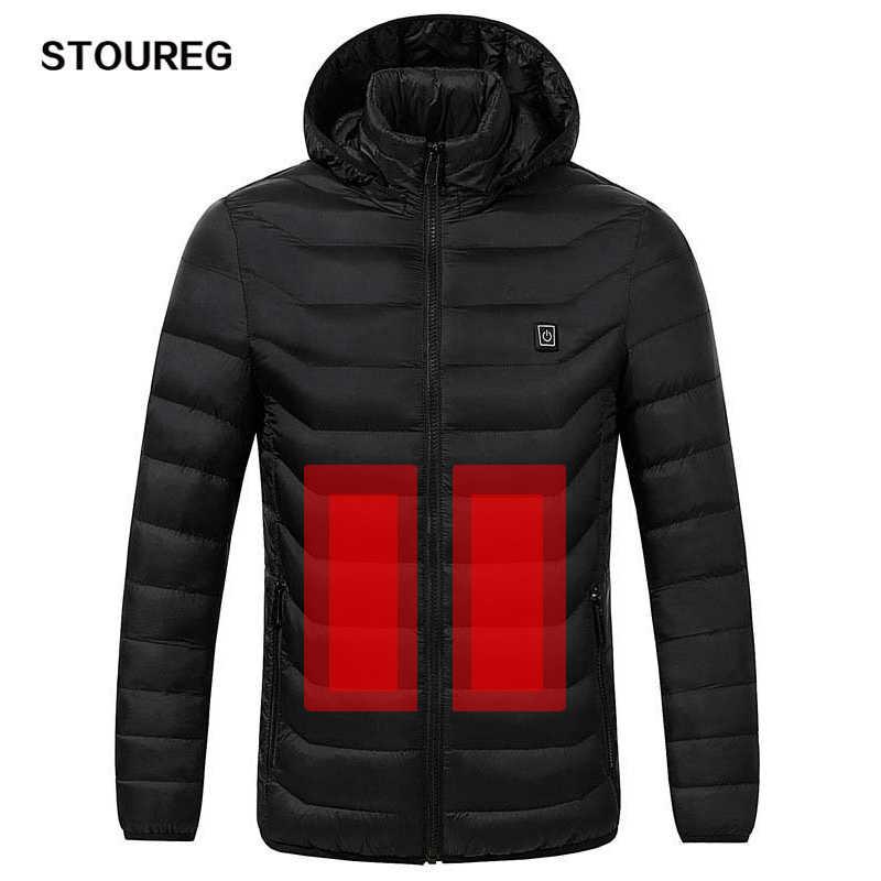 冬暖かい加熱ジャケット男性女性スマートサーモスタットフード付き服メンズ防水スキーハイキングフリースジャケット