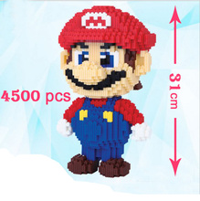 31cm 4500pcs Education mini nano block  For Kids Cartoon Figure super mario Model Building magic Blocks Bricks