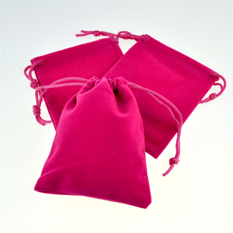 50pcs 7x9cm Jewelry Packing Velvet Bag Hot Pink Color Velvet Drawstring Bags Pouches Free Shipping
