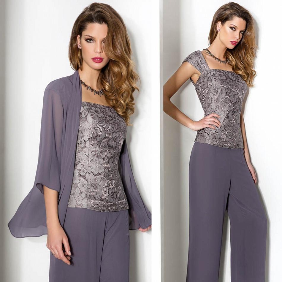 3 Piece Purple Mother Of The Bride Chiffon Pant Suits with Jacket ...