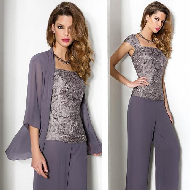 ea858cf86ef 3 Piece Purple Mother Of The Bride Chiffon Pant Suits with Jacket Lace  Tunic Trousers For Wedding Party Lace Women Evening Outfi
