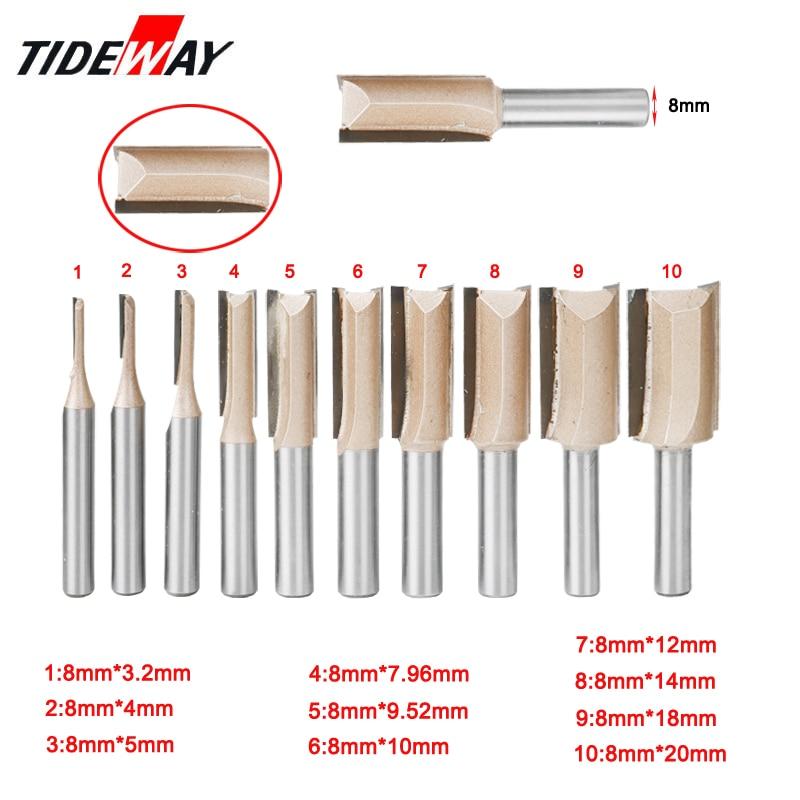 8mm Shank Straight/Dado Woodworking Router Bit Set Carpenter Milling Cutter 6/8/10/12/14/18/20mm Diameter Wood Cutting Tool
