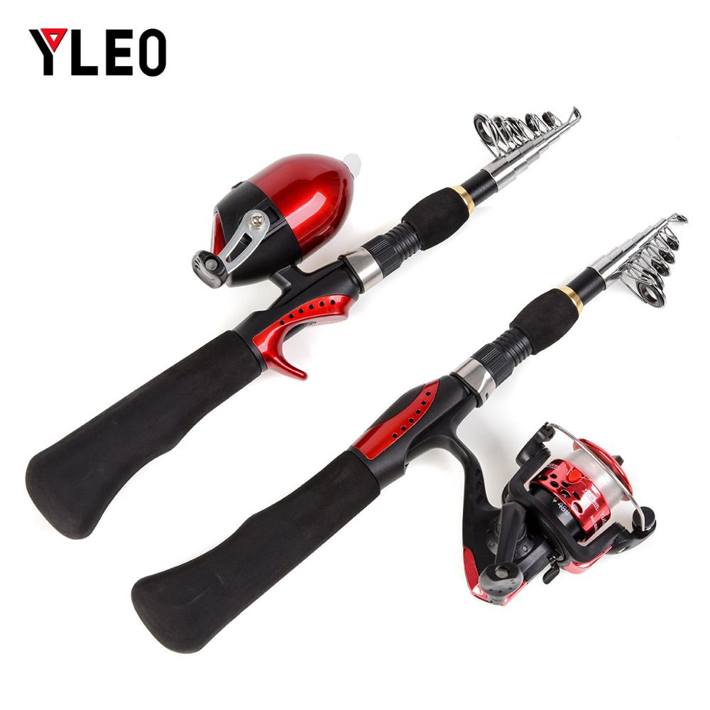 YLEO 1.6M Mini Durable Portable Combo Telescopic Ice Rock Fishing Rod Reel telescopic fishing rod
