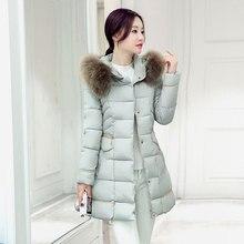 Зимние куртки пальто женщин ово воротник длинные участки Slim Корейской моды дополняется пуховик большой ярдов Куртка
