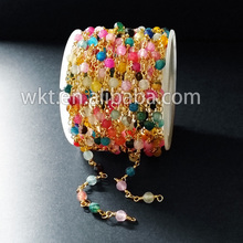 New arrival!High quality colorful rosary beads chain,handmade brass chain in free shipping WT-RBC022