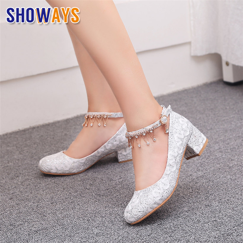 White Wedding Women Pumps Mid Block Heels Mesh Sequined Cloth Round Toe Bridesmaid Party Rhinestone Chain Ankle Strap Lady Shoes