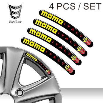 EARLFAMILY 10cm x 1cm 4pcs DOMED RIM WHEEL STICKERS STRIPE MOMO ITALY AUTO EMBLEM MOTORCYCLE TUNING C72 CAR STICKERS