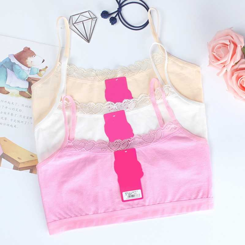 new Young Girls Lace Bra Puberty Teenage Soft Cotton Underwear Training Bra Clothing