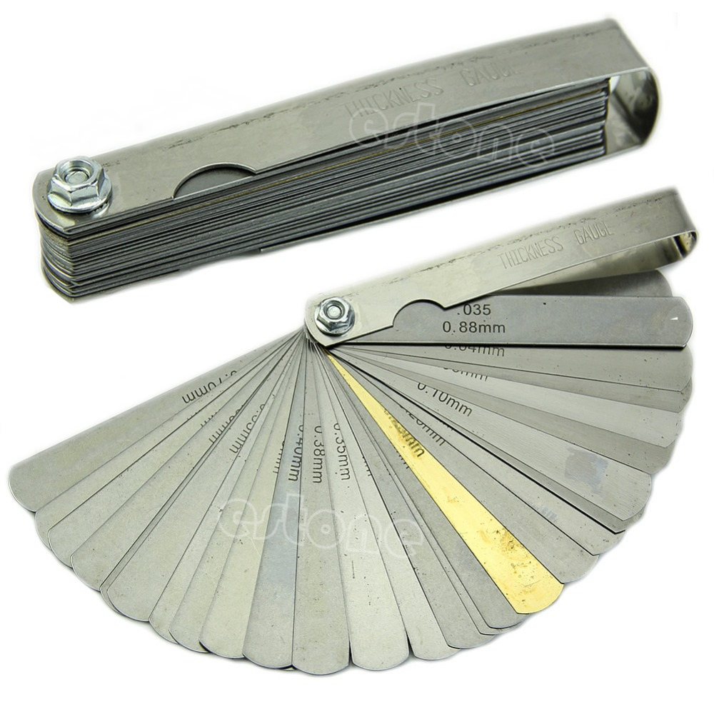 2018 High Quality New Feeler Gauge Tune Up Thickness Set 32 Blade IMP/METRIC With Brass