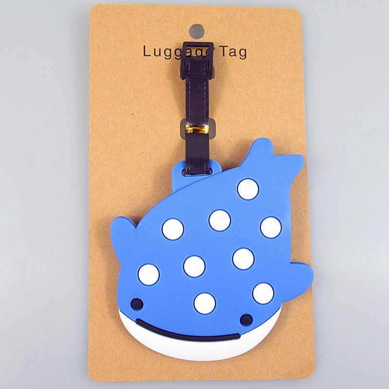 Criativo baleia peixe bagagem tag sílica gel mala id endereço titular bagagem embarque tags etiqueta portátil acessórios de viagem