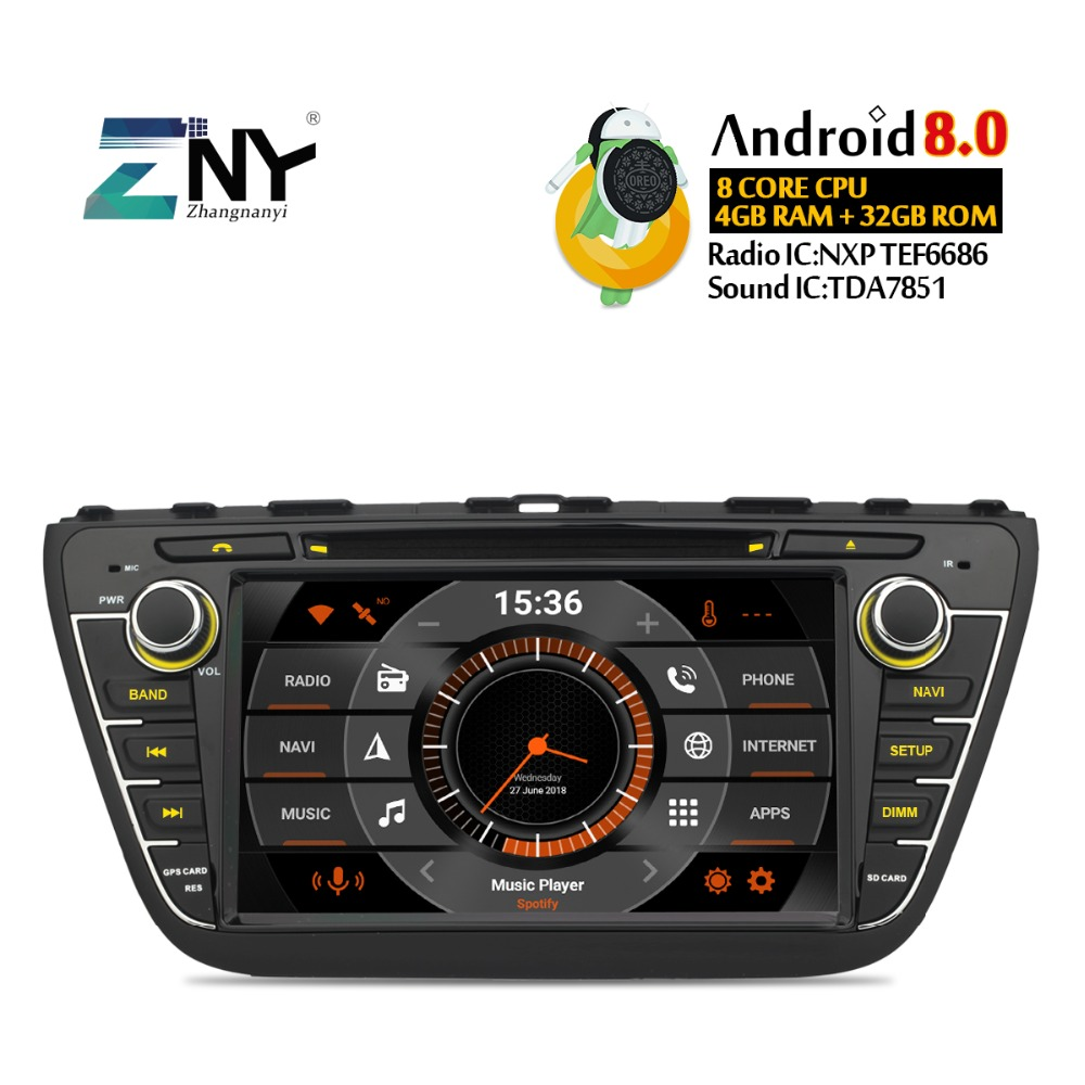 "8"" IPS Display Android 9.0 Car DVD For Suzuki SX4 S-Cross 2014 2015 2016 Auto Radio Stereo GPS Navigation Audio Video Backup Cam"
