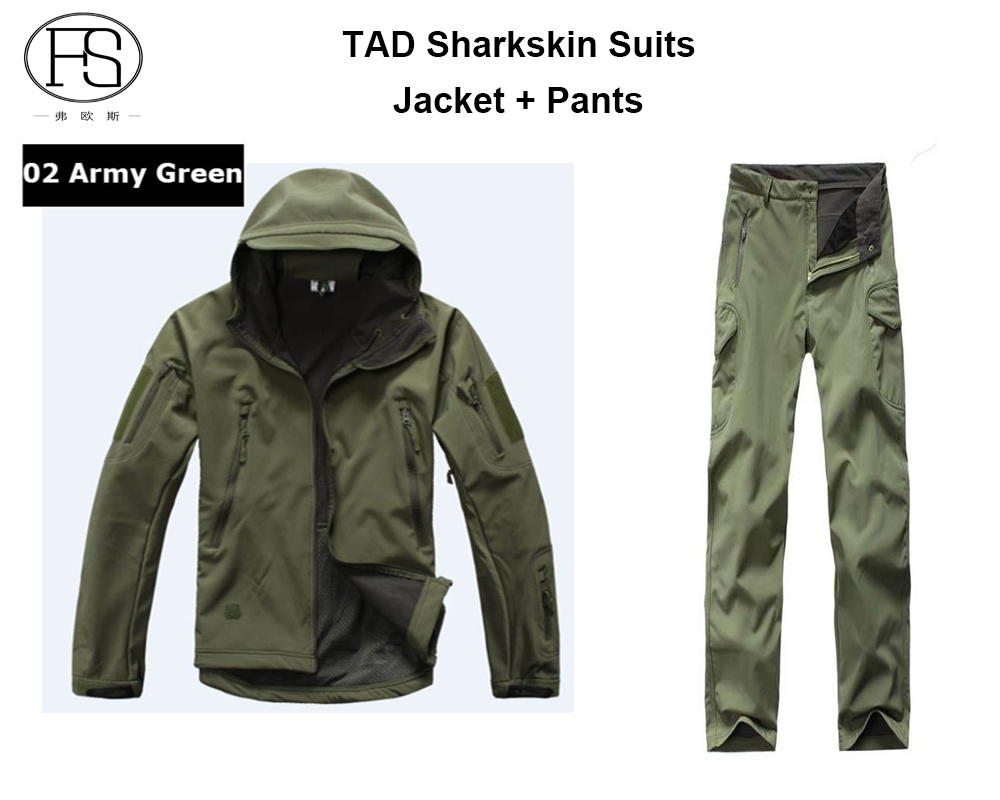 Tactical TAD Softshell Sharkskin Suits Men Waterproof Hunting Clothing Jacket Pants Military Jacket 12 Colors tad ecc803 s tad premium selected