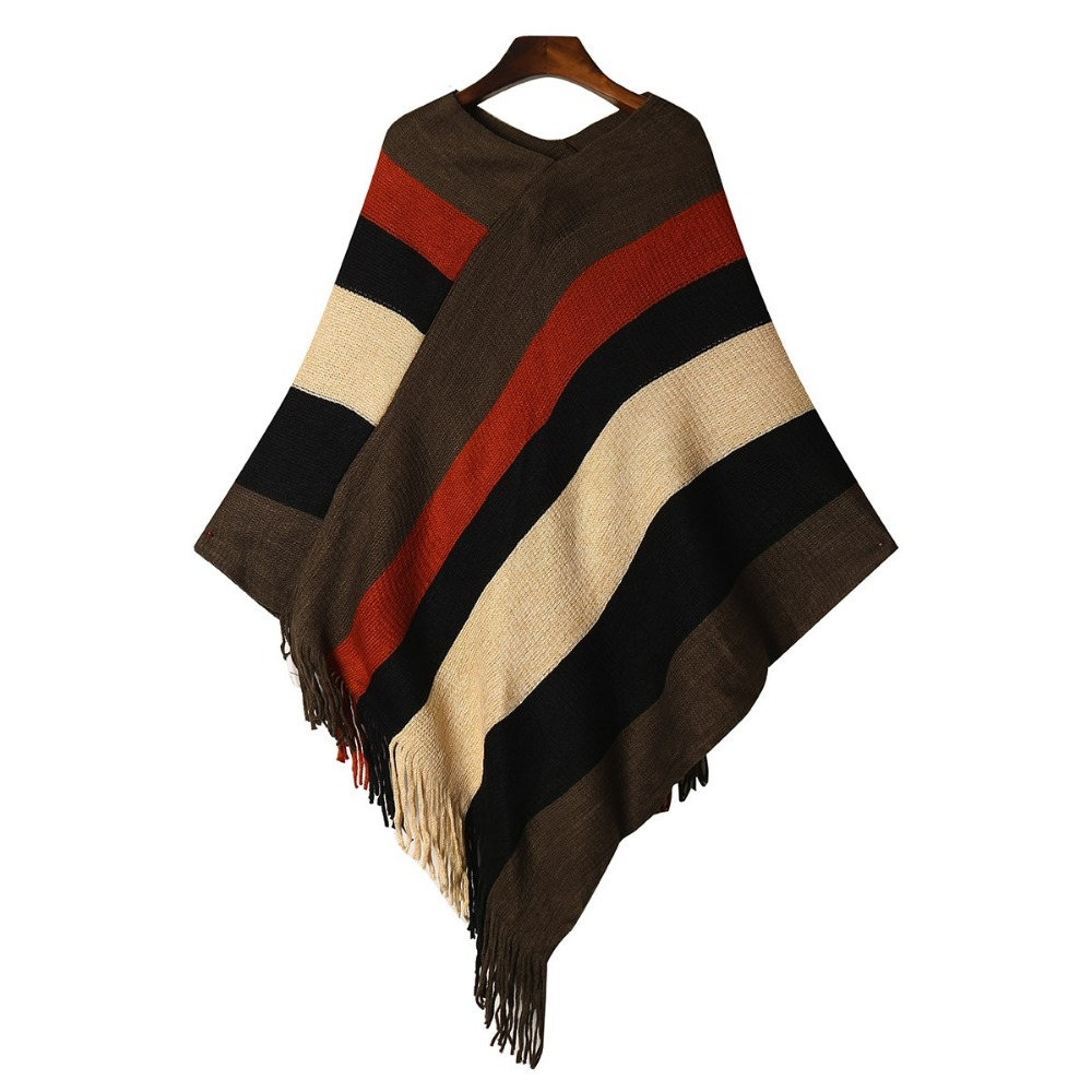 Knitted Sweater Jumper Loose Pullover Irregular-Hem Poncho Sexy Tassel Pull Femme Striped
