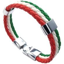 Jewelry bracelet, Italian flag bangle, leather alloy, for men's women, green white red(China)