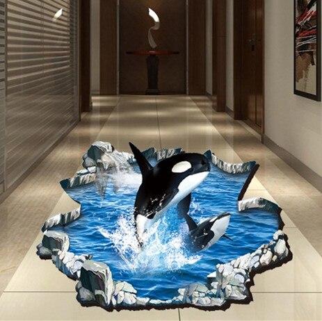 3D mar ballena romper palabra pegatinas sala de estar casera aseo ...