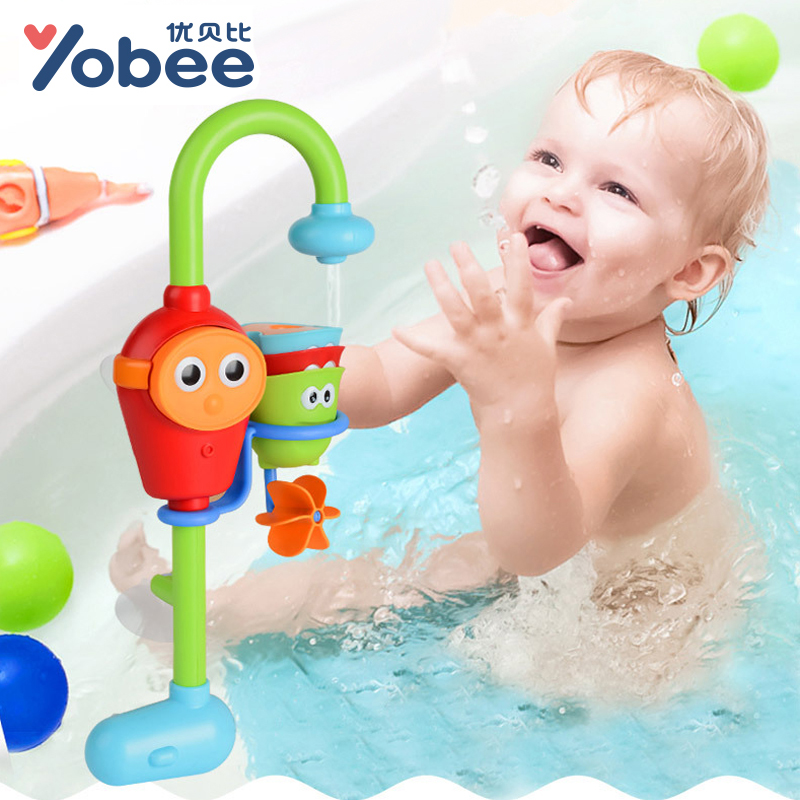 Yobee Baby Jenga Bathing Shower Toys for Children Kids Water Spraying Taps Bathroom Play Toy Early Educational Bath Gifts