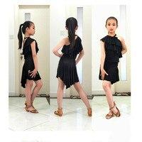 Tassel Latin Dance Dress For Girls Salsa Black Color Rumba Tango Children Ballroom Dresses For Kids Samba Competition Clothing