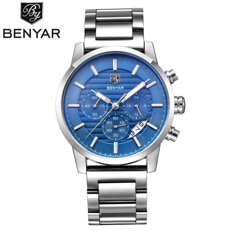 BENYAR 2017 Men Watches Top Brand Luxury Business Waterproof Sport Chronograph Quartz Man Watch Male Clock reloj hombre xinge top brand luxury leather strap military watches male sport clock business 2017 quartz men fashion wrist watches xg1080