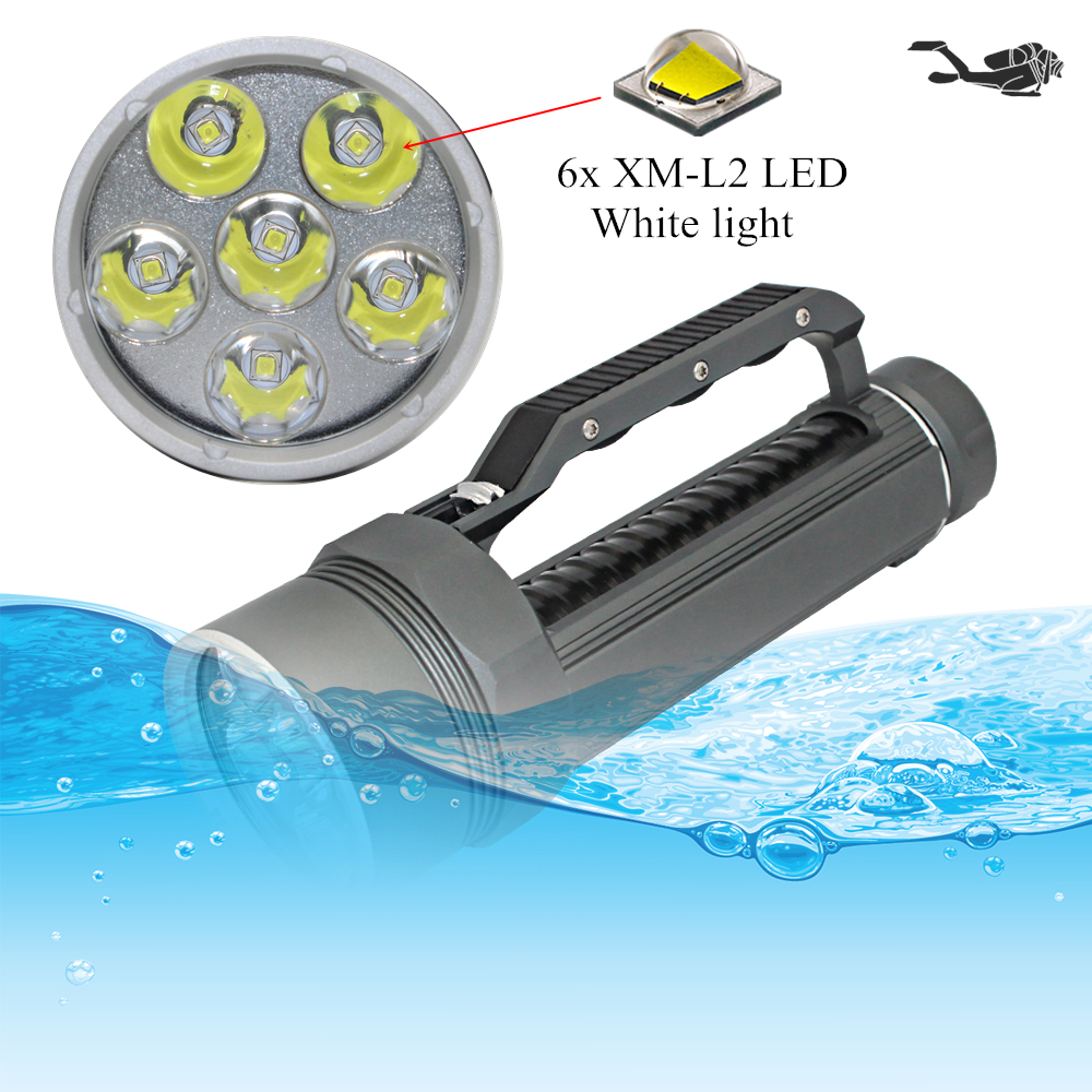Diving Light 6x CREE XM-L2 LED Scuba Diving Flashlight Light Waterproof Underwater 100M Torch Use 32650 Battery underwater 100m diving flashlight 8000 lumen 5x cree xm l l2 dive lamp torch for outdoor diving