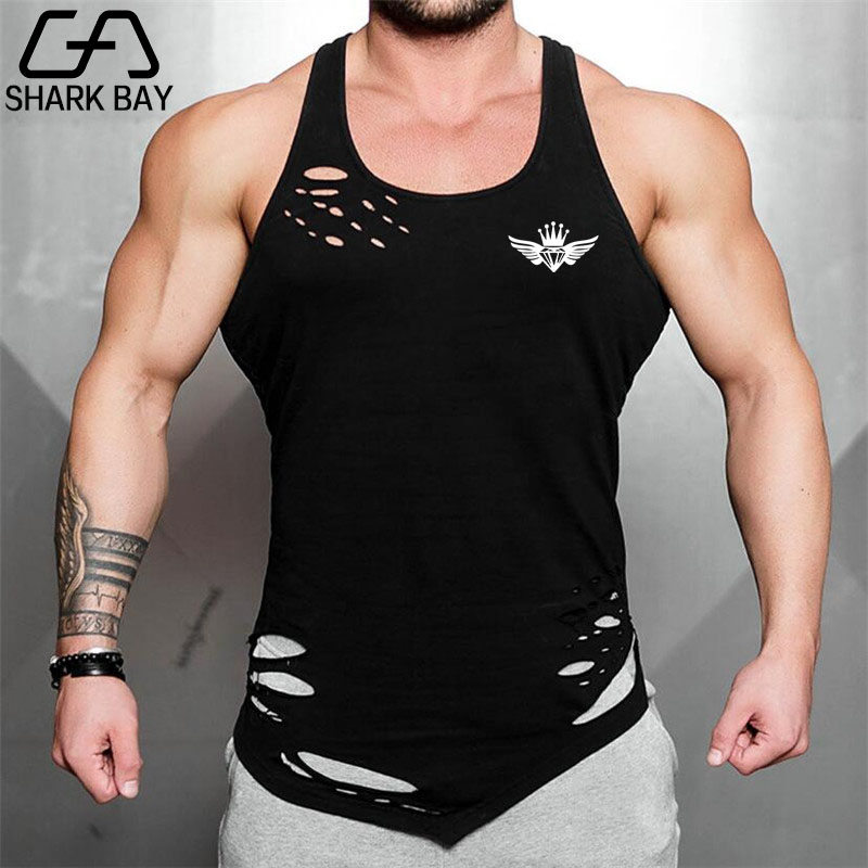 2019 New Shark Bay Brand Gyms vest bodybuilding clothing and fitness men undershirt   tank     tops     tops   golds men undershirt